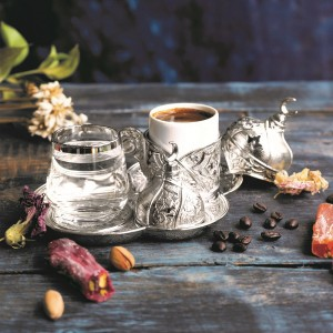 Premium Quality Porcelain & Silver Brass Turkish Coffee Set